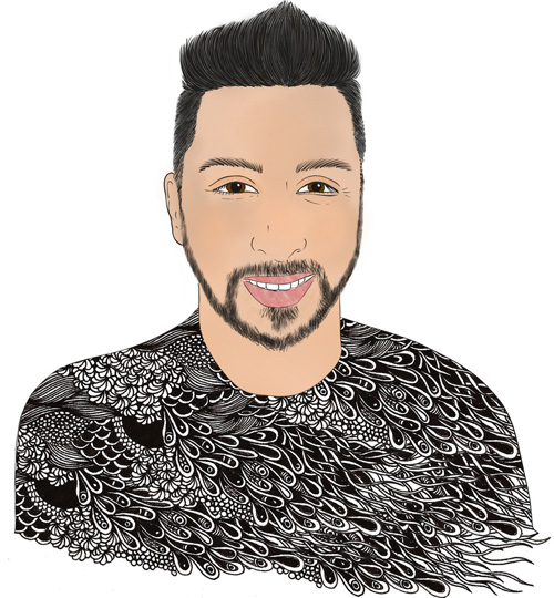 hand drawn illustration portrait of Alex Soto