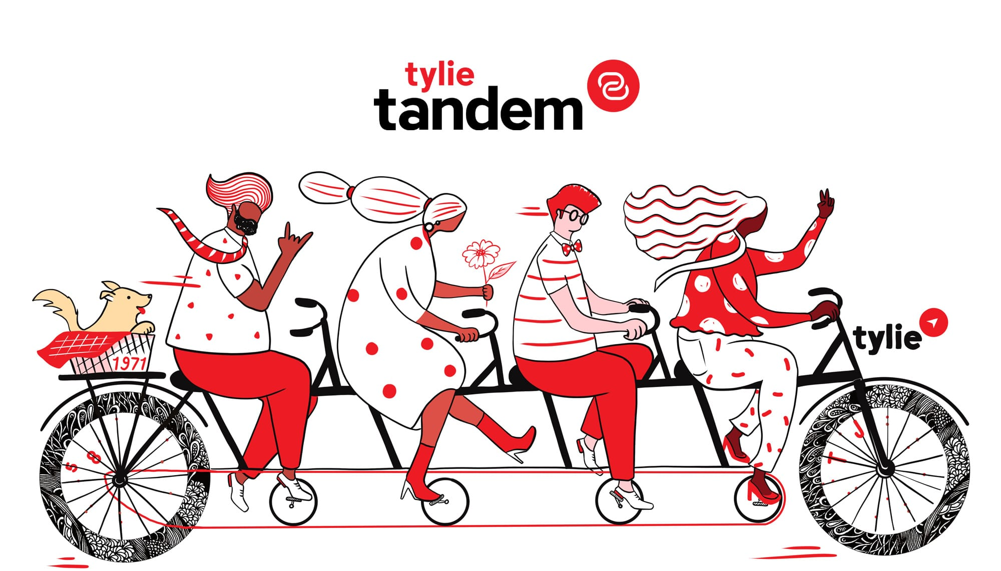 Tandem logo with illustration of four people on a tandem bicycle